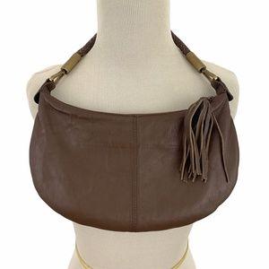 Brown Leather Mini Hobo Bag